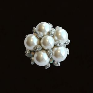 Faux White Pearl Silver and Crystal Brooch Pin